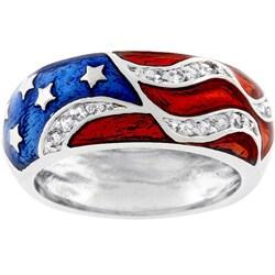 Kate Bissett Silvertone Patriotic Cubic Zirconia Ring