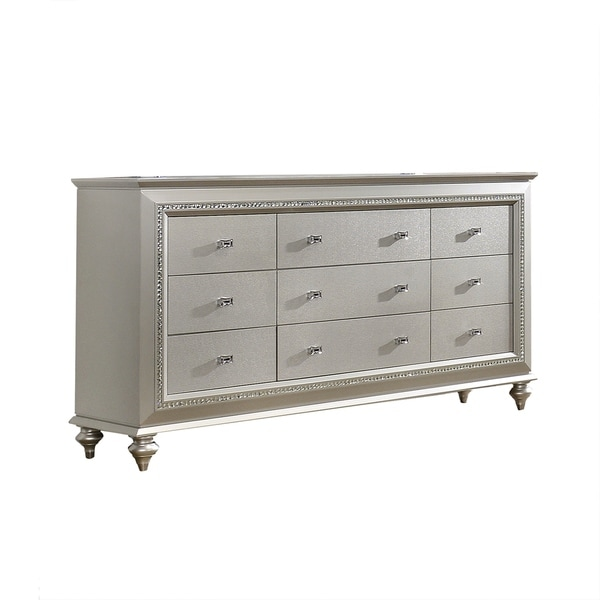 9 Drawer Spacious Desser with Mirror Beveled Pulls and Bun Feet, Silver