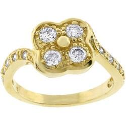 Kate Bissett Goldtone Cubic Zirconia Clover Ring