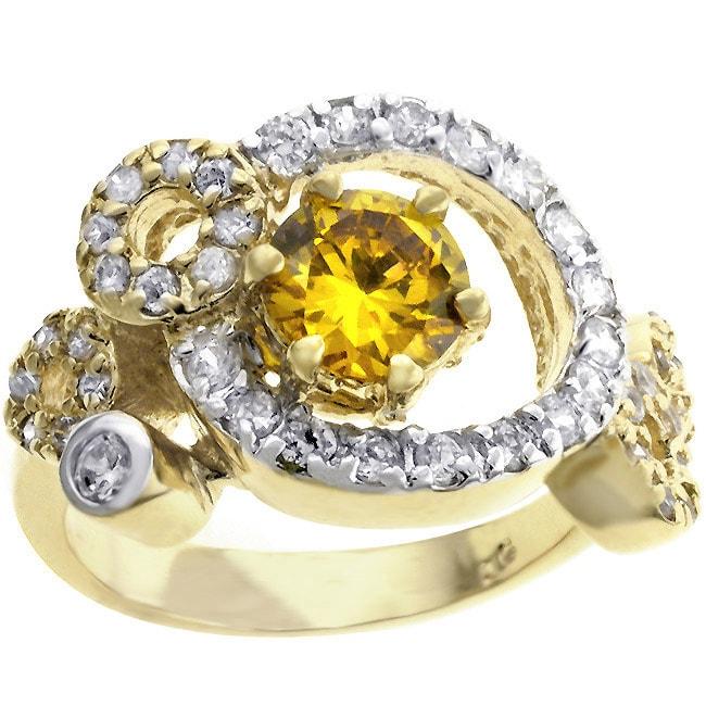 Kate Bissett Goldtone  Fashion Circular Pave CZ Cocktail Ring