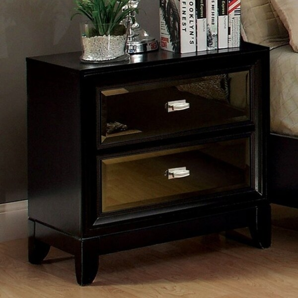 Gold-Tinted Mirror Panels Nightstand