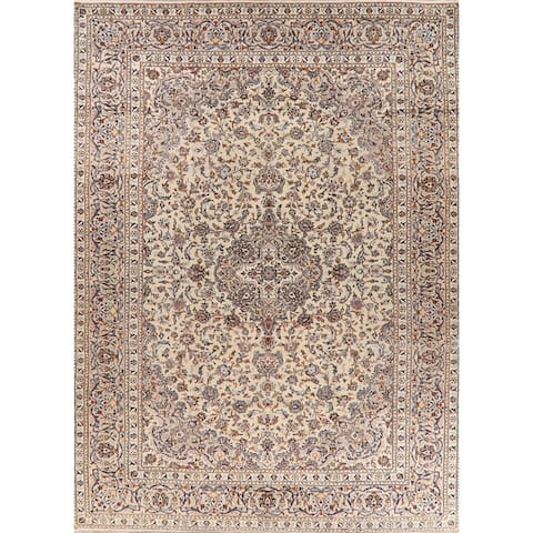 """Vintage Floral Ivory Kashan Persian Area Rug Hand-Knotted - 9'11"""" x 13'5"""""""