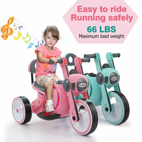 Electric Wheel Bicycle Kids Ride On Motorcycle 6V Toy Battery Powered
