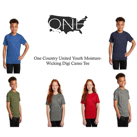 One Country United Youth Moisture Wicking Digi Camo Tee