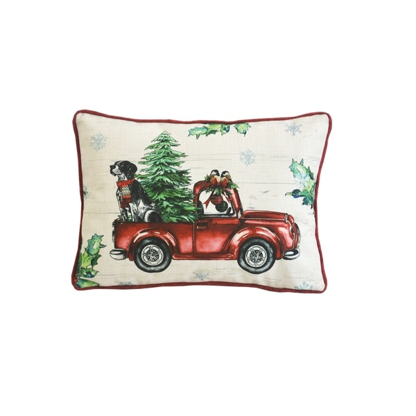 Trucking Tree and Dog Pillow
