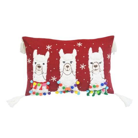 Three Llamas Pillow Oblong