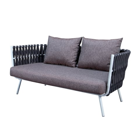 LeisureMod Spencer Modern Outdoor Rope Frame Loveseat with Cushions