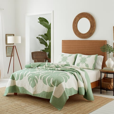 Tommy Bahama Molokai Green Quilt and Sham Separates