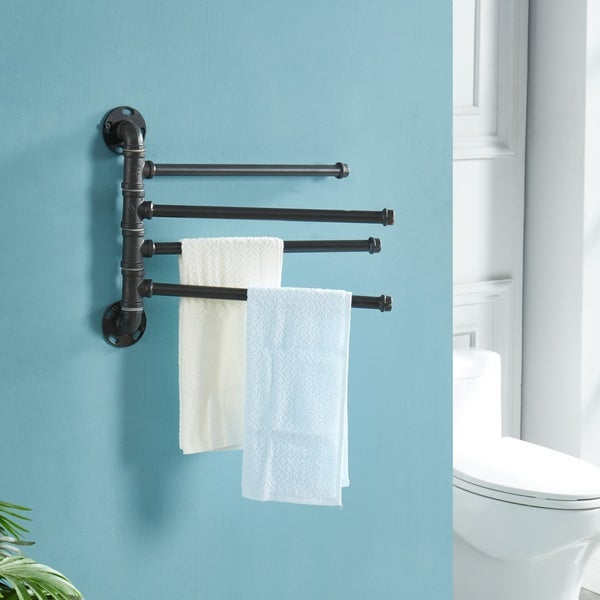 Furniture of America Brevin Industrial Sand Black Wall Mounted Towel Rack