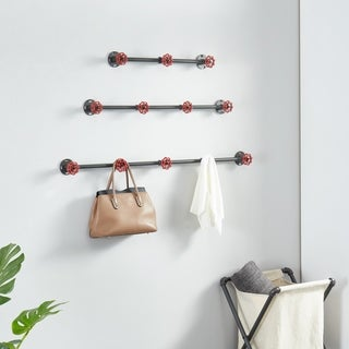 Furniture of America Cambria Sand Black  Industrial Wall Coat Rack