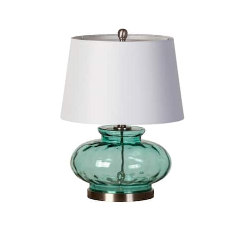 The Curated Nomad Balboa Sea-green Glass Table Lamp