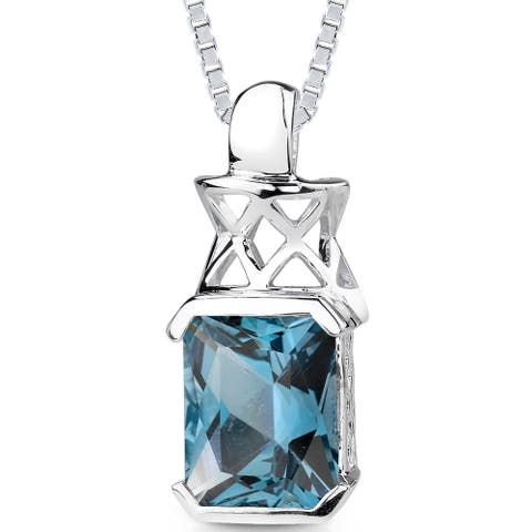 5 ct Radiant Cut London Blue Topaz Pendant Necklace in Sterling Silver