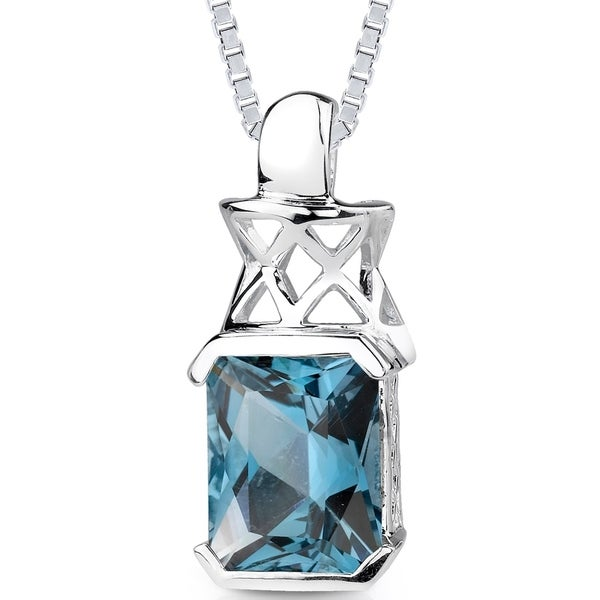 5 ct Radiant Cut London Blue Topaz Pendant Necklace in Sterling Silver. Opens flyout.