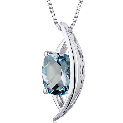 1.25 ct Radiant Cut Aquamarine Pendant Necklace in Sterling Silver