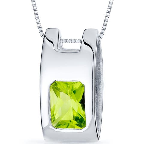 1.5 ct Radiant Cut Peridot Pendant Necklace in Sterling Silver