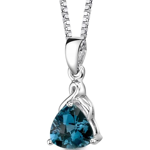 2 ct Trillion Cut London Blue Topaz Pendant Necklace Sterling Silver