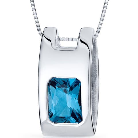 2 ct Radiant Cut London Blue Topaz Pendant Necklace in Sterling Silver