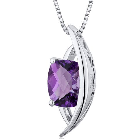 1.5 ct Radiant Cut Amethyst Pendant Necklace in Sterling Silver