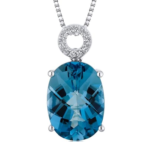 6.5 ct Oval London Blue Topaz Pendant Necklace in Sterling Silver