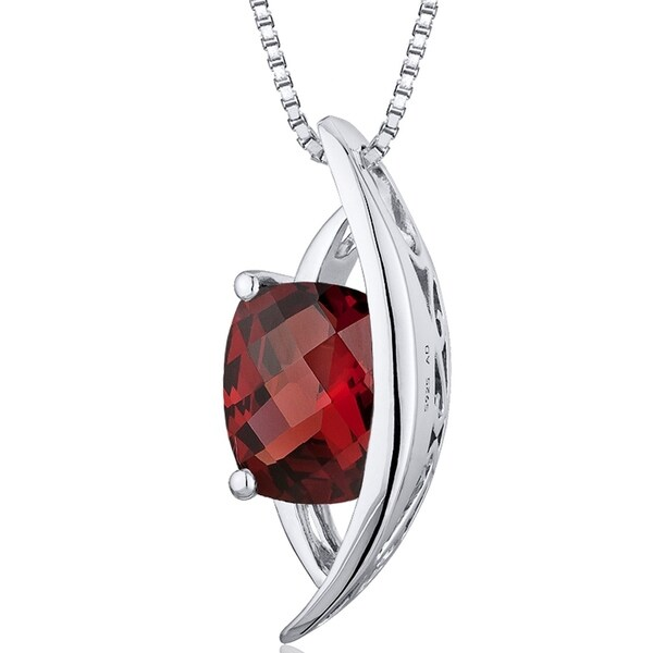 1.75 ct Radiant Cut Garnet Pendant Necklace in Sterling Silver