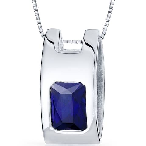 2 ct Radiant Cut Created Blue Sapphire Pendant Sterling Silver