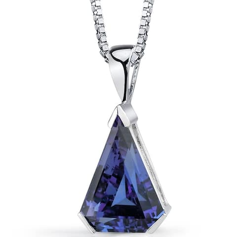6.75 ct Color Changing Alexandrite Pendant Necklace in Sterling Silver