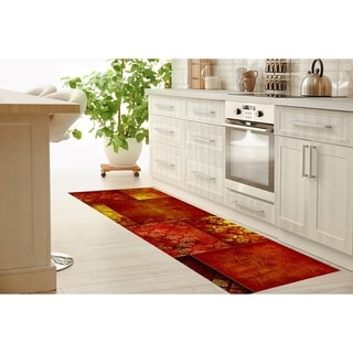 ECLECTIC BOHEMIAN PATCHWORK RED GOLD Kitchen Runner by Kavka Designs