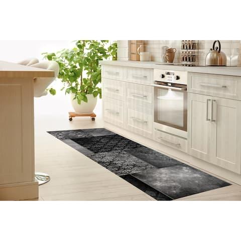ECLECTIC BOHEMIAN PATCHWORK DARK GREY Kitchen Runner By Kavka Designs