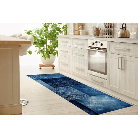 ECLECTIC BOHEMIAN PATCHWORK BLUE Kitchen Runner By Kavka Designs