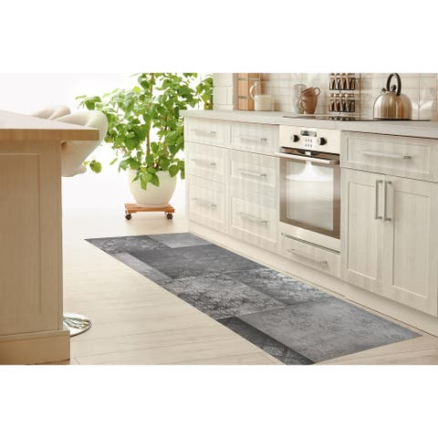 ECLECTIC BOHEMIAN PATCHWORK LIGHT GREY Kitchen Runner By Kavka Designs