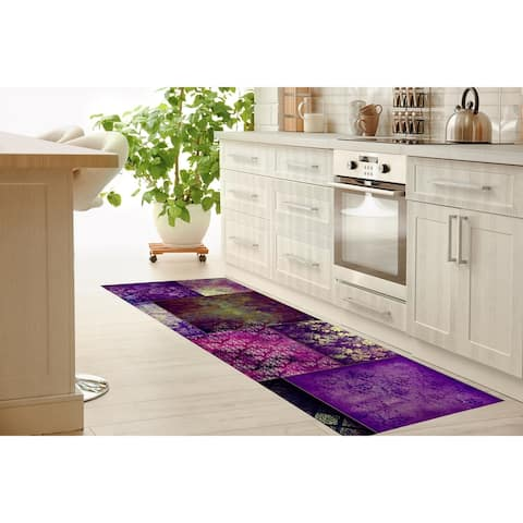 ECLECTIC BOHEMIAN PATCHWORK PURPLE Kitchen Runner By Kavka Designs