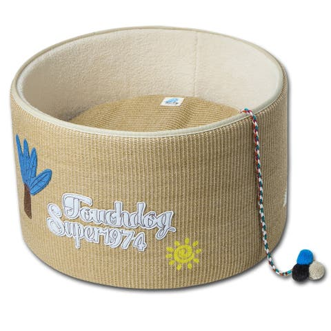 Touchcat 'Claw-ver Nest' Rounded Scratching Cat Bed w/ Teaser Toy - One Size