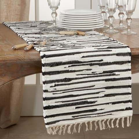 Cotton Table Runner with Zebra Chindi Design