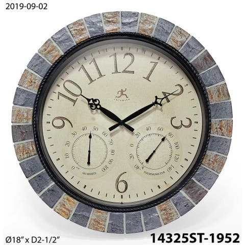 Inca Indoor/Outdoor Stone 18 inch Wall Clock with Temperature/Humidity