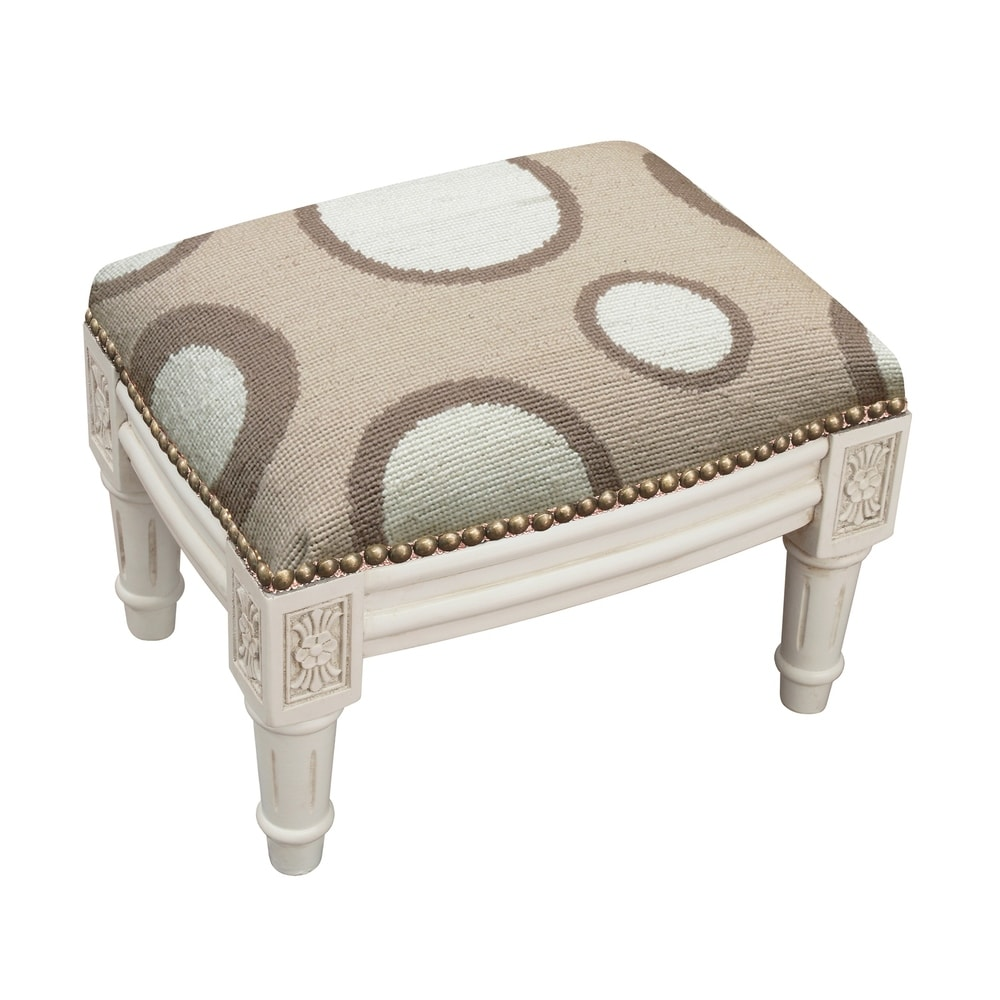 123 Creations Beige Circle Needlepoint Footstool (Shabby Chic - Foot Stool - Small - Assembled - Wood - Beige - Solid)