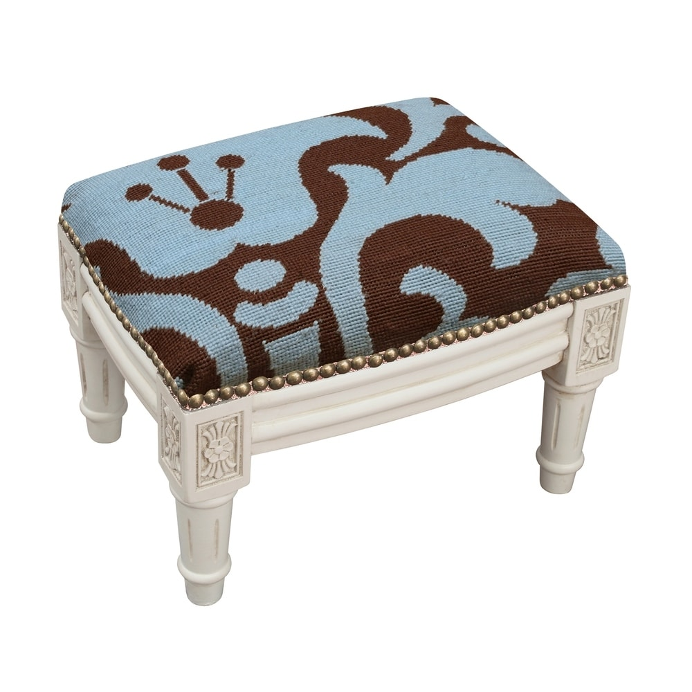 123 Creations Blue and Brown Damask Floral Needlepoint Footstool (Traditional - Foot Stool - Small - Assembled - Wood - Blue - Solid)