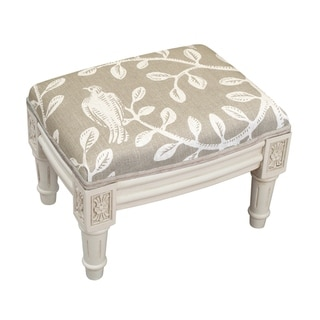 Link to Copper Grove Castletown Taupe Upholstered White Footstool with Vine Accents Similar Items in Cocktail Ottomans