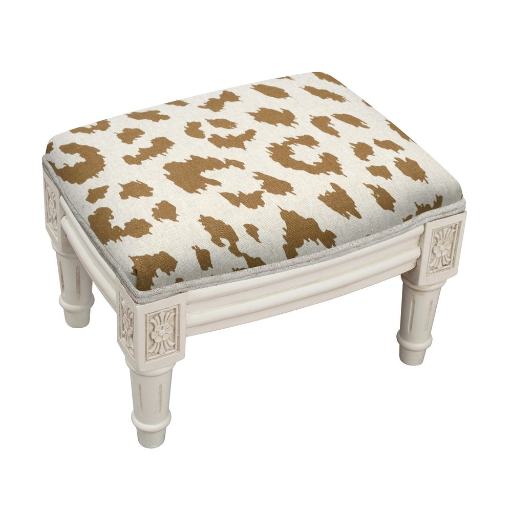 123 Creations Caramel Cheetah Footstool (Shabby Chic - Foot Stool - Small - Assembled - Wood - Brown - Solid)