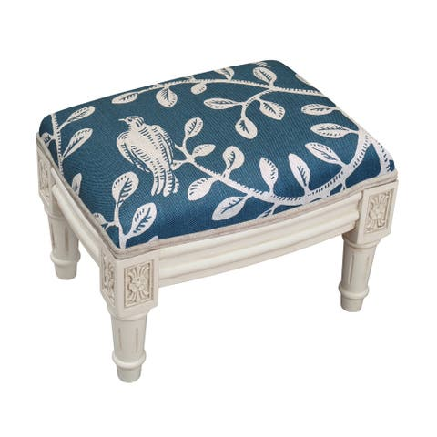 Copper Grove Castletown Navy Upholstered White Footstool with Vine Accents