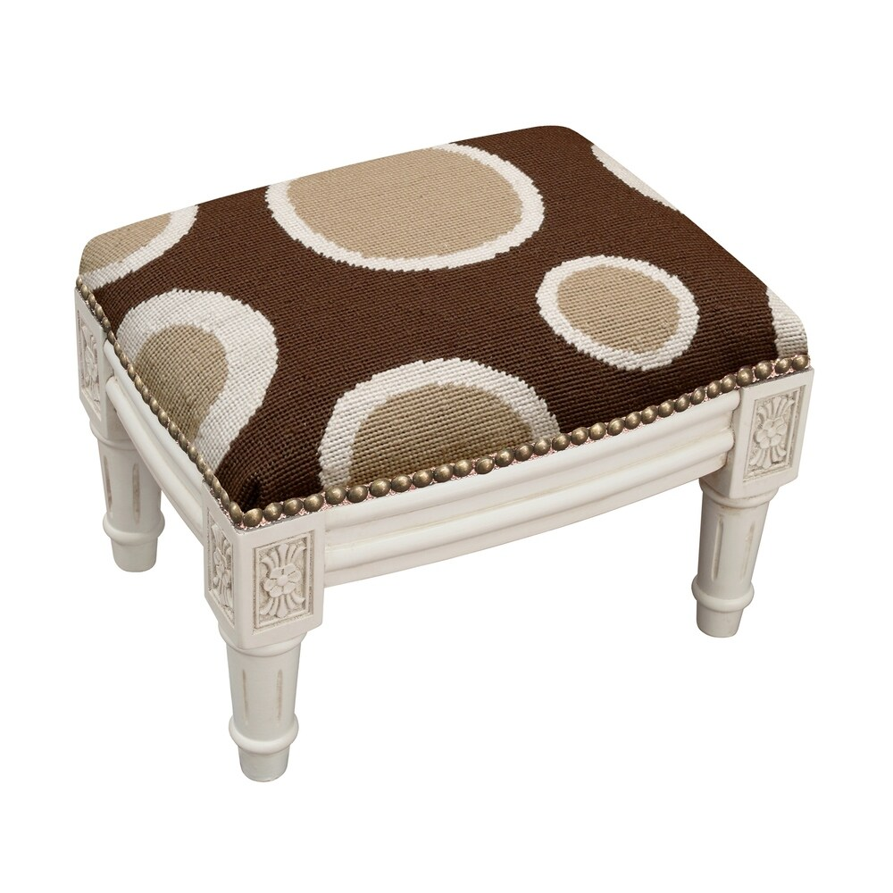 123 Creations Brown Circle Needlepoint Footstool (Shabby Chic - Foot Stool - Small - Assembled - Wood - Brown - Solid)