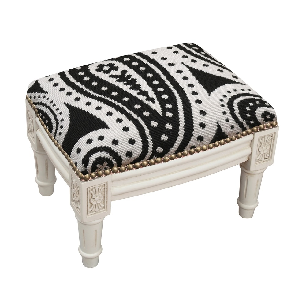 123 Creations Black Paisley Needlepoint Footstool (Traditional - Foot Stool - Small - Assembled - Wood - Black - Solid)