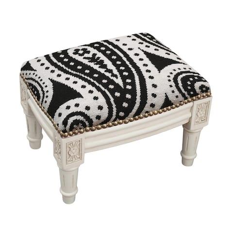 Black Paisley Needlepoint Footstool