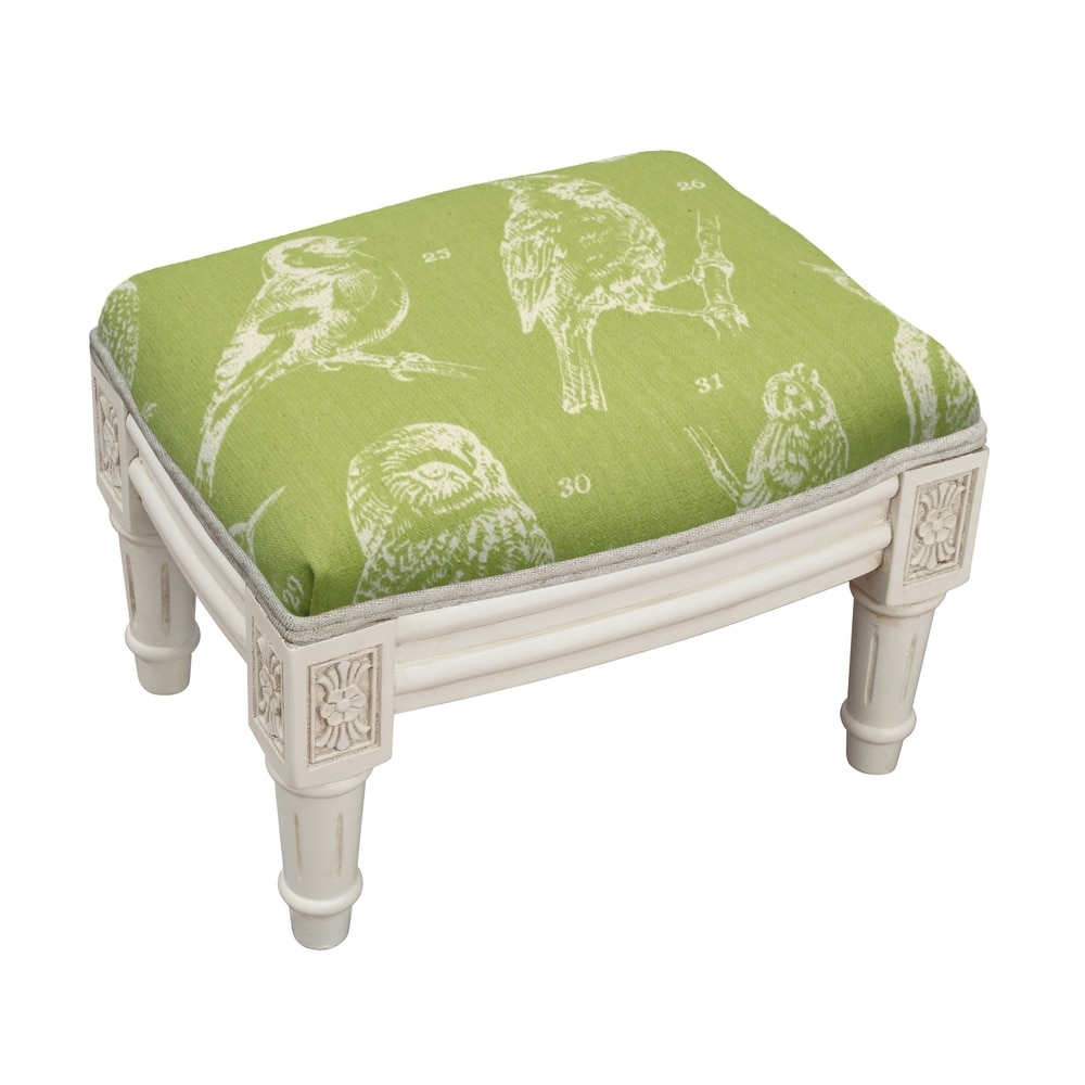 123 Creations Chartreuse Bird Watch Footstool (Rustic - Foot Stool - Small - Assembled - Wood - Green - Solid)
