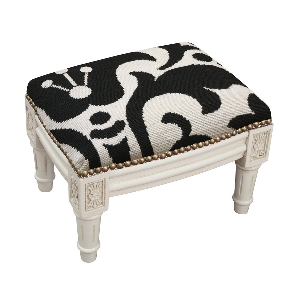 123 Creations Black Damask Floral Needlepoint Footstool (Traditional - Foot Stool - Small - Assembled - Wood - Black - Solid)