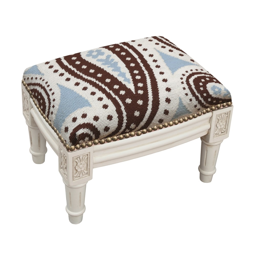 123 Creations Blue and Brown Paisley Needlepoint Footstool (Traditional - Foot Stool - Small - Assembled - Wood - Blue - Solid)