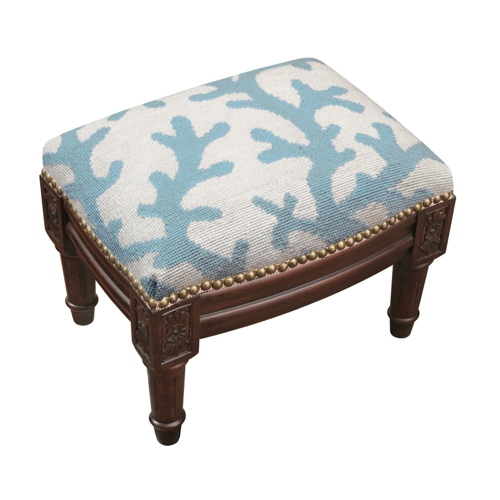 123 Creations Blue Coral Needlepoint Footstool (Nautical and Coastal - Foot Stool - Small - Assembled - Wood - Blue - Solid)