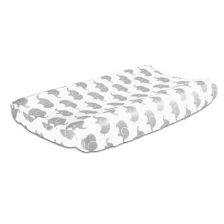 The Peanut Shell Elephant Print Cotton Changing Pad Cover in Grey.