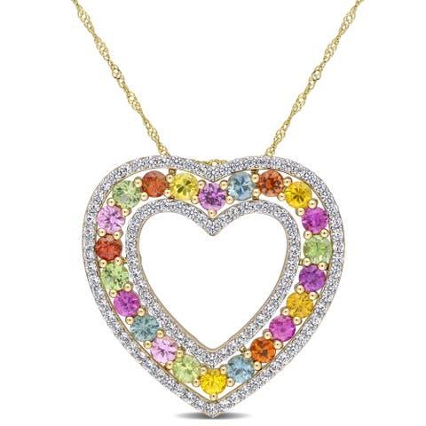 Miadora 14k Yellow Gold Multi-color Sapphire Heart Necklace