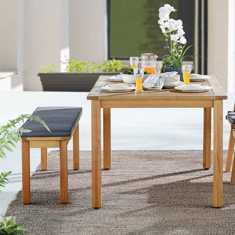 Syracuse Outdoor Patio Outdoor Patio Dining Table and Bench Set
