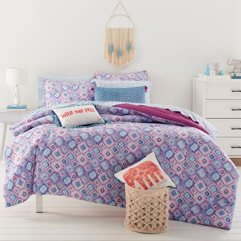 Ivory Ella Leah Bright Purple Comforter Set